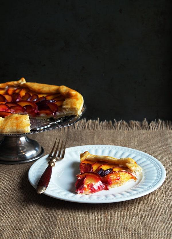 Slice of Peach Plum Galette