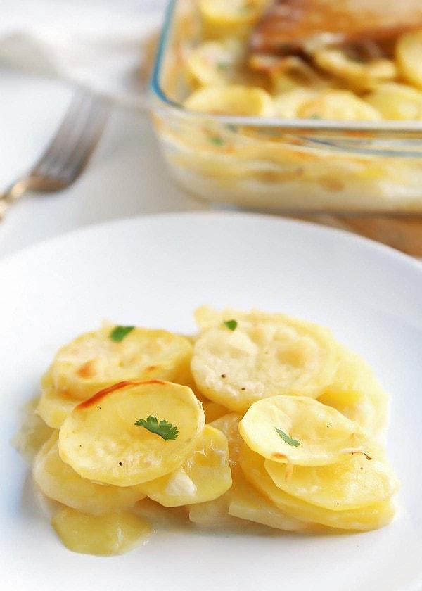 Homemade Scalloped Potatoes on Plate