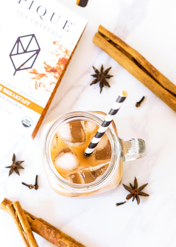 Chai Iced Latte overhead view