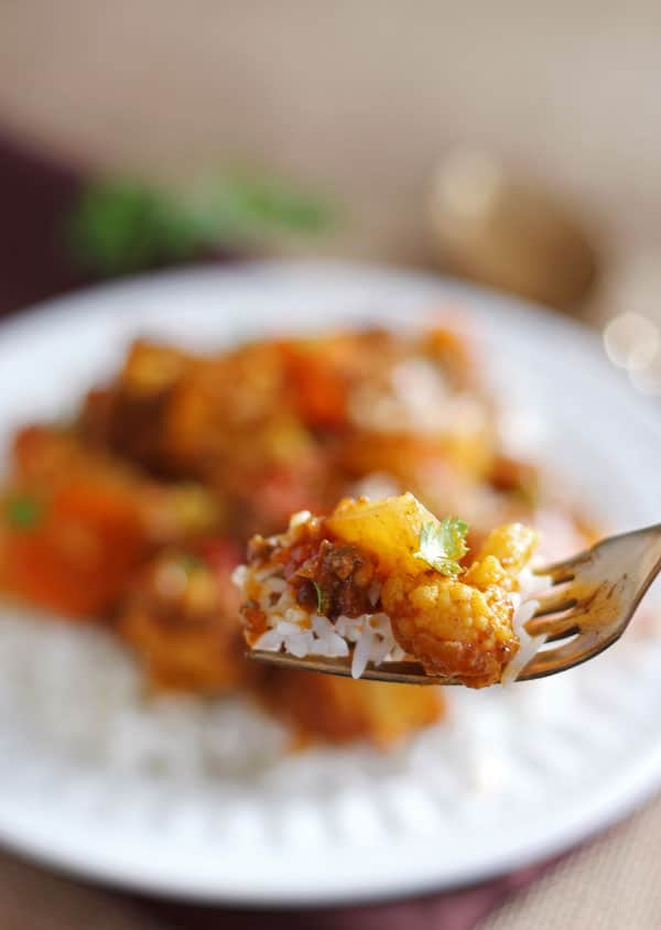 Forkful of Cauliflower Beef Curry