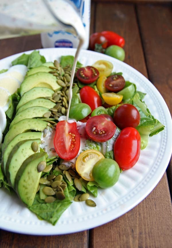 Drizzling Salad with Kefir Dressing