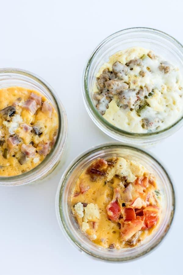 Delicious Instant Pot breakfast recipe of egg casserole in Mason Jars.