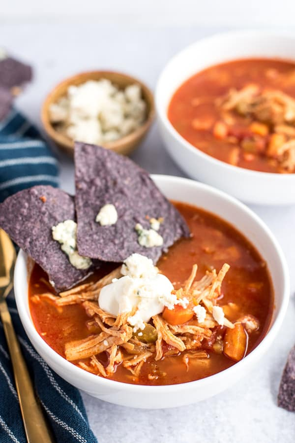 buffalo chicken soup with sour cream and blue cheese nachos