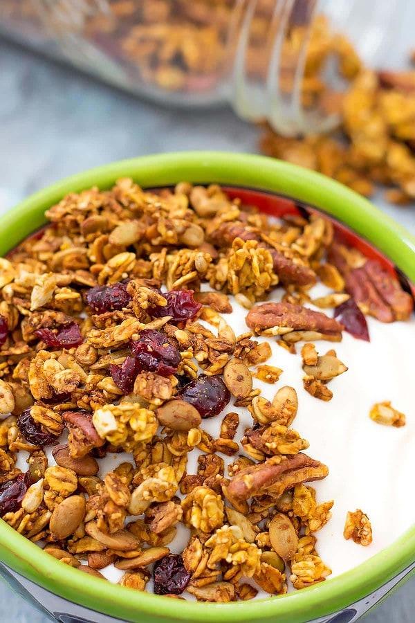 Pumpkin Granola on yogurt in bowl
