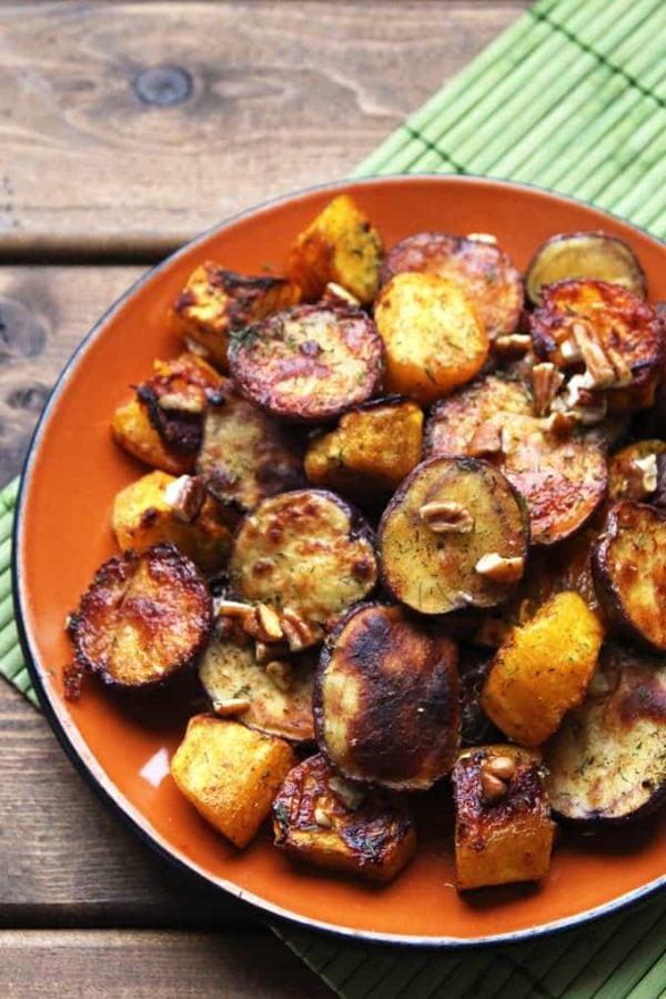 Roasted Potatoes and Orange Squash