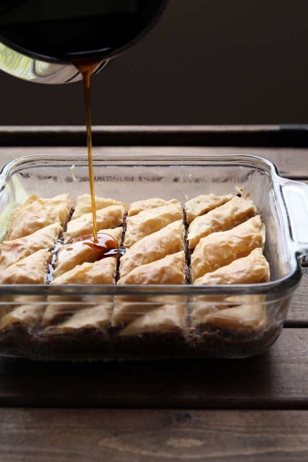 Drizzling Baklava with Maple