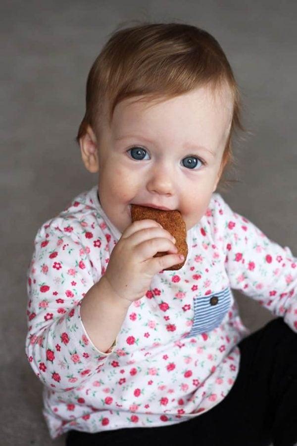 Baby Eating Homemade Teething Biscuit