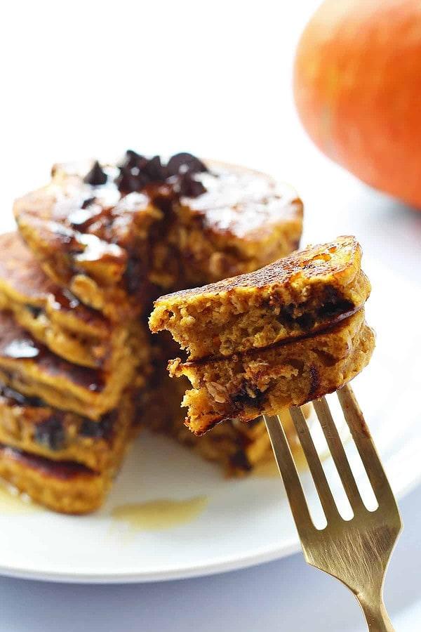 Forkful of Pumpkin Oatmeal Pancakes