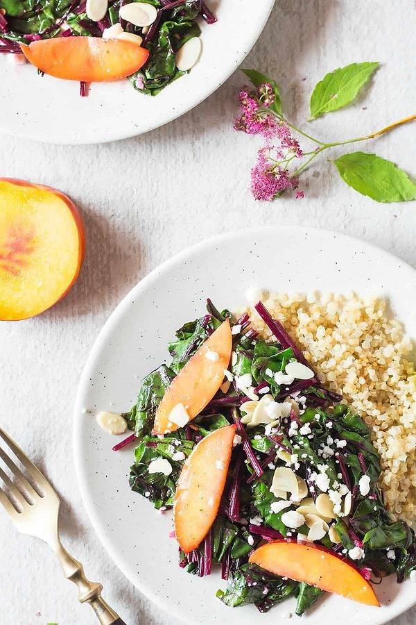 Sautéed Beet Greens and Quinoa