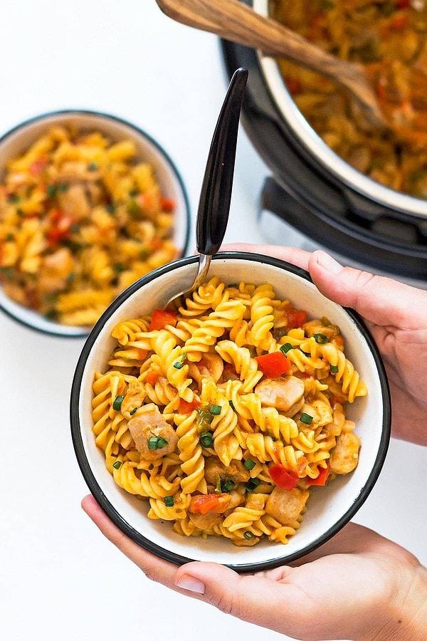 Bowl of Spicy Cajun Chicken Pasta
