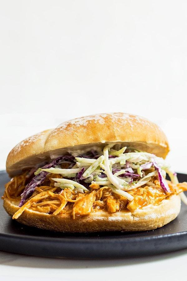 BBQ Shredded Chicken Coleslaw Sandwich
