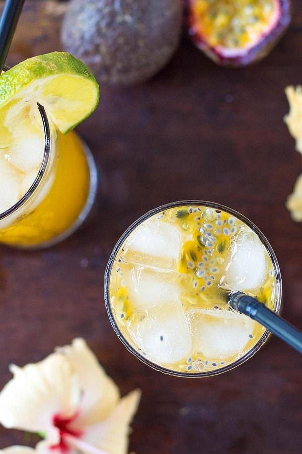 Two glasses of passion fruit lemonade