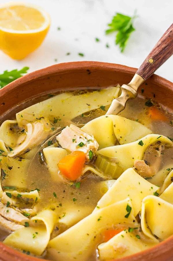 Closeup of chicken soup bowl