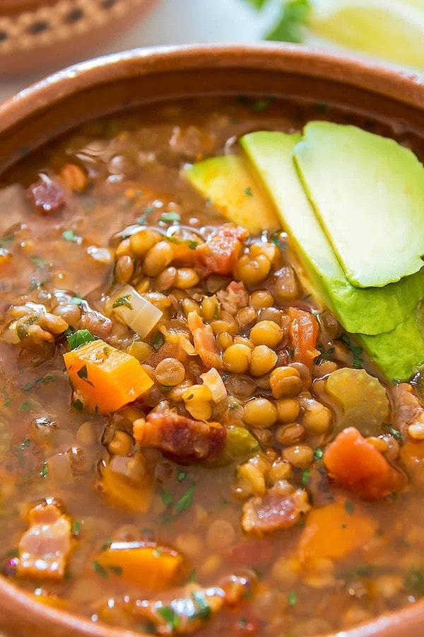 Tomato Lentil Soup in Bowl