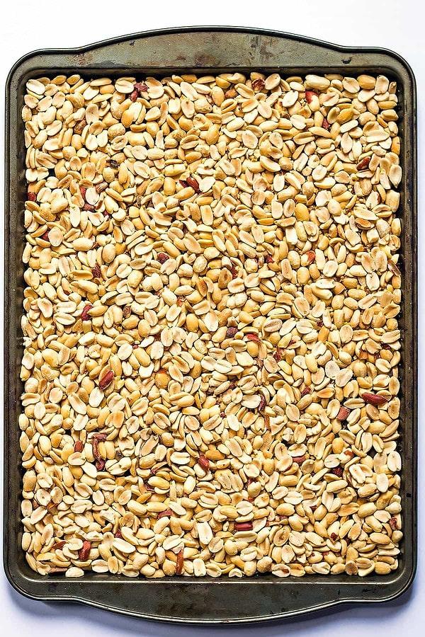 Roasted Peanuts on baking tray