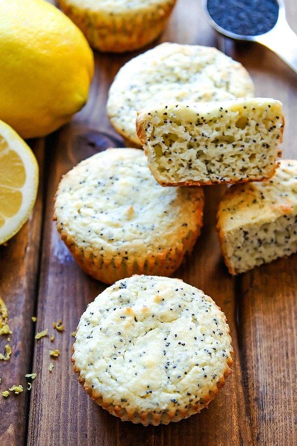 Coconut Flour Lemon and Poppyseed Muffins