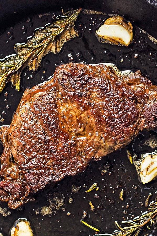 Pan cooked beef steak