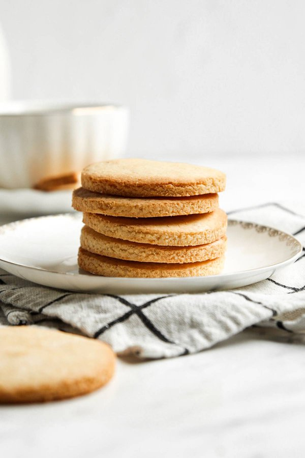 Stack of coconut flour cut out cookies