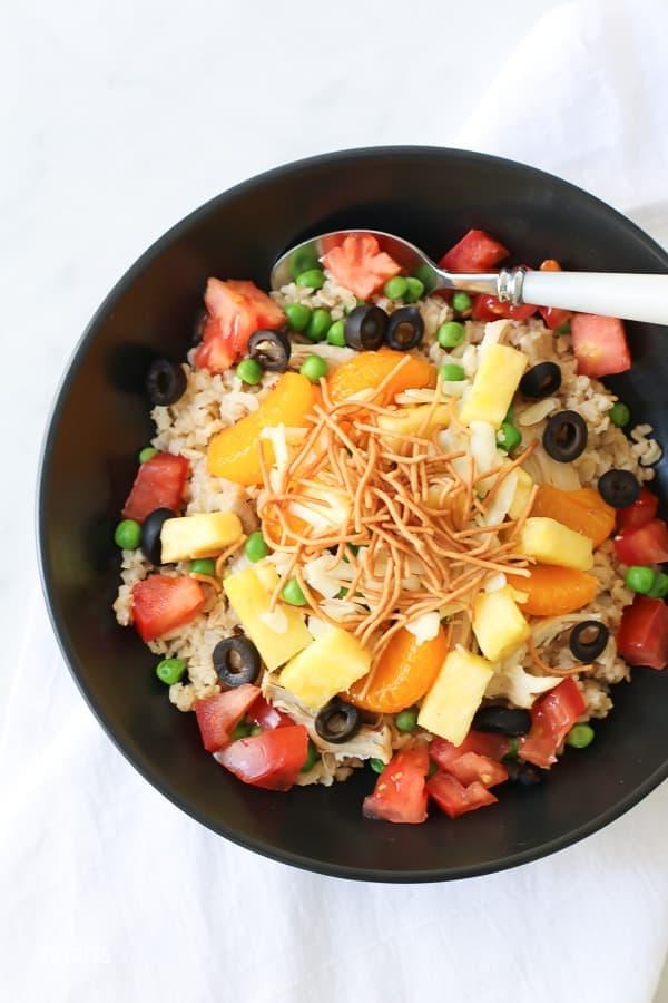 Top shot of Hawaiian Haystacks in a bowl