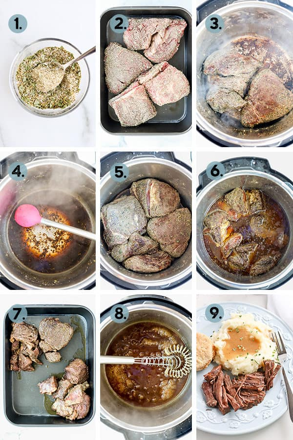 step by step collage of how to make a pot roast in an instant pot pressure cooker