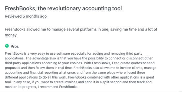 FreshBooks Customer Reviews 1