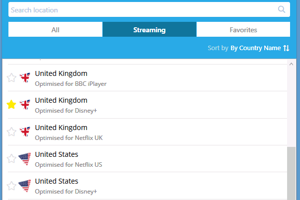 Hideme streaming servers