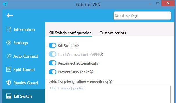 Hide.me has a standard internet kill-switch