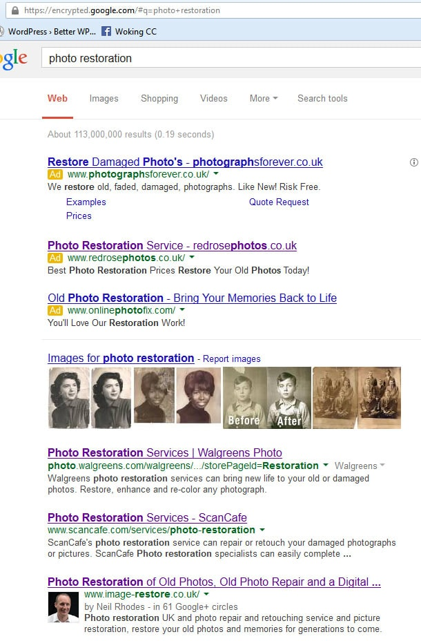 Searching for photo restoration on Google