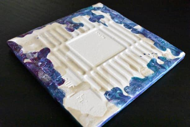 tile coaster after resin removed