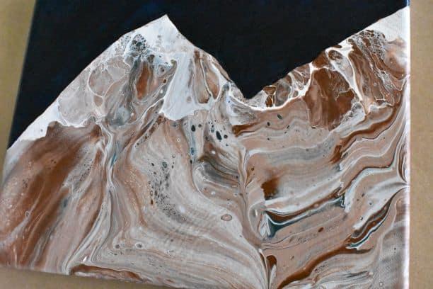 Mountain Scene Acrylic Pour