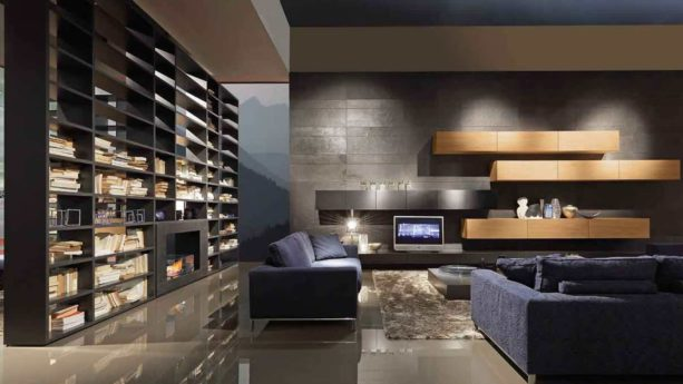 freestanding bookshelves as wall unit with two-sided fireplace