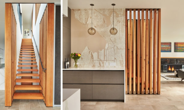 urban modern galley kitchen with small vertical wood slat wall partition
