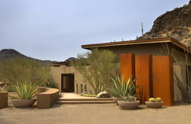curvy desert-like backyard landscape idea in feminine look