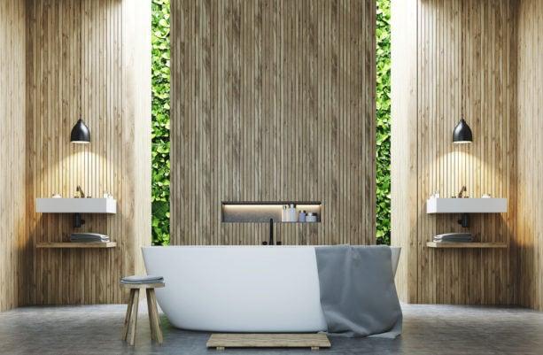 zen bathroom with vertical wood slat wall as a panel