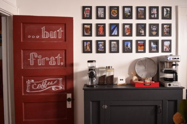 gorgeous combination between a black coffee station and a berry red kitchen door
