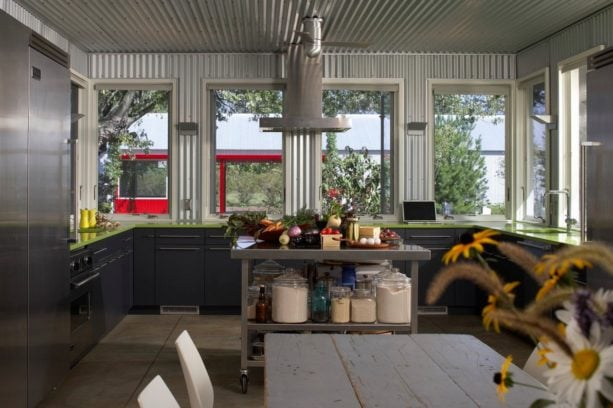 kitchen walls and ceiling from galvanized corrugated metal material