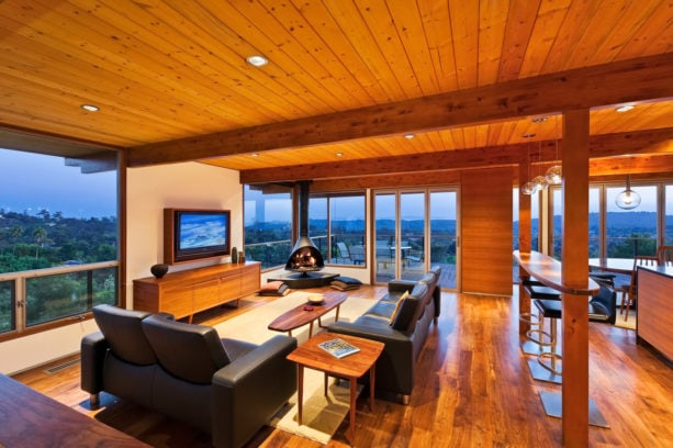 a mid-century modern living room with medium-tone hardwood floor