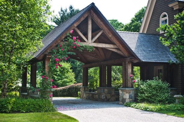 large elegant attached post and beam carport
