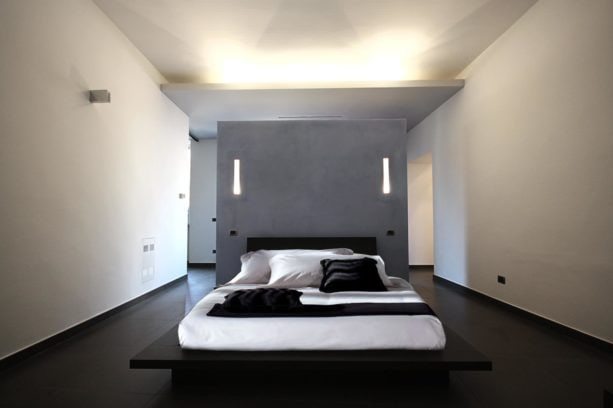 queen wall bed in the middle of a contemporary room