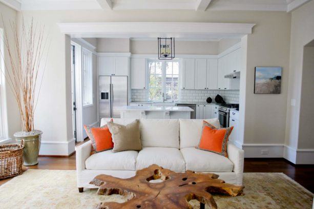 narrow l-shaped kitchen and off-white rustic living room combo