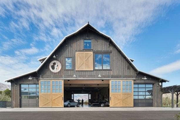 half x brace side sliding exterior barn door designs for a large country garage