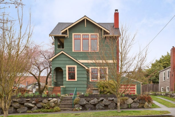 timeless jade green house and cream with brown undertone trim color