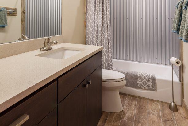 bathtub surround from corrugated metal panels