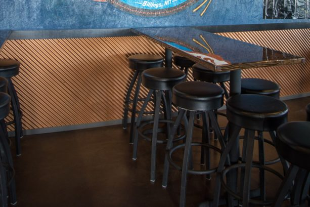 corrugated metal panels as alternative to interior wainscoting