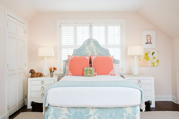 a sweet look in a girl's room with coral, soft blue, and soft pink color theme