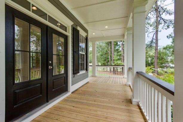 black doors and window shutters for gray exterior with white trim