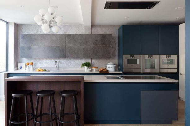 hague blue gray kitchen cabinets color on a light wood floor