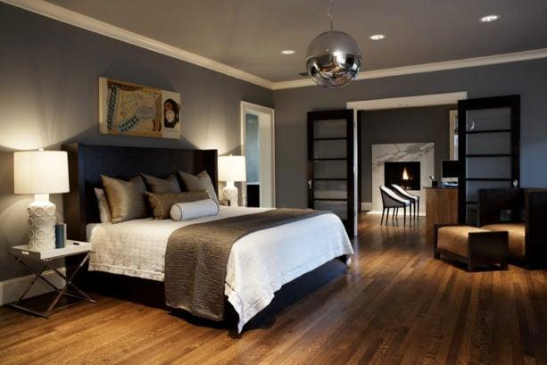 platform king bed in the middle of a modern craftsman room