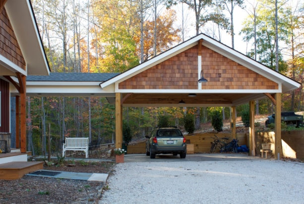 arts and crafts styled carport with post and beam structure