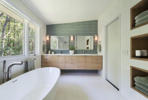 a mid-century modern bathroom interior with white marble floor